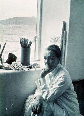 Georgia O'Keefe in her studio