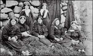 St Kilda Women..1886....The St Kildans were of Hebridean stock and spoke Gaelic. They dressed in a manner similar to people from the Western Isles. In 1697 Martin Martin recorded that they loved music and games, but by the late nineteenth century their adherence to the Free Church of Scotland led to a less joyful life.