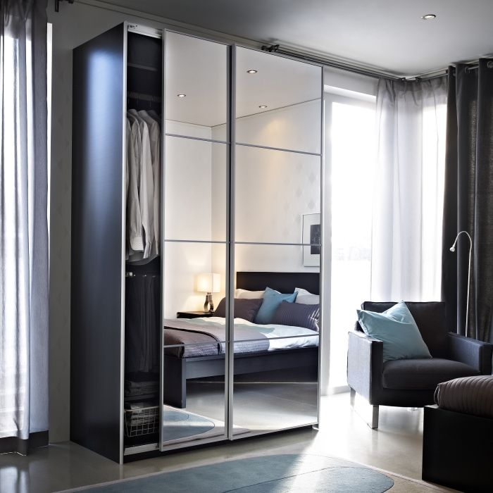 Auli Portes Coulissantes 2 Pi Ces Miroir Sliding Mirror Doors Mirrored Wardrobe And Glass Doors