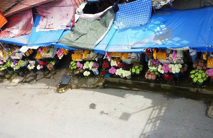 Flower Market from a bridge above. Chiang Mai, Thailand