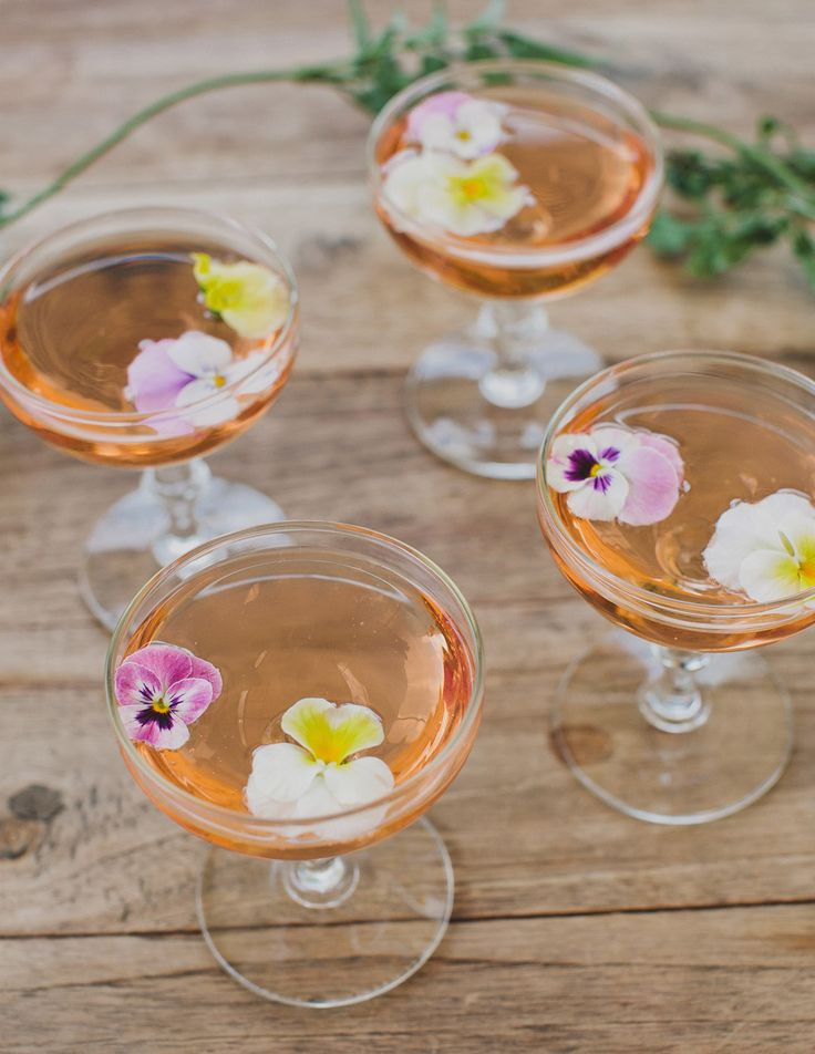 Champagne with fresh edible flowers