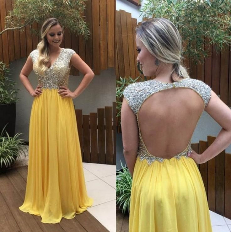 Prom Dresses 2017 Beading Backless V-line Aline Chiffon Prom Dresses 2017
