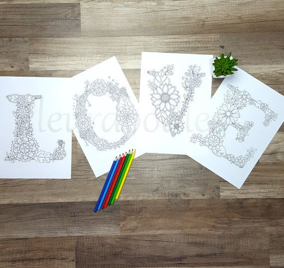 Floral Letters Coloring : Coloring page printable alphabet with from coloringpage on etsy