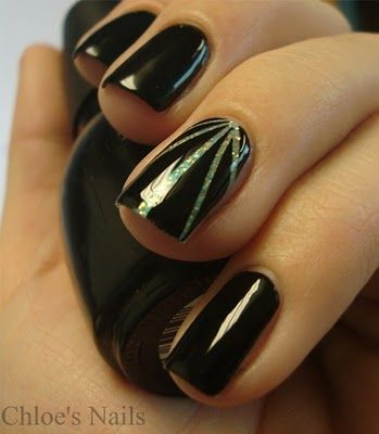 spicy!  Could totally do this by painting all the nails black except the ring finger.  Paint the ring finger with a silver holo and once it's dry place tape on it in the design shown.  Then paint over the entire nail with black polish