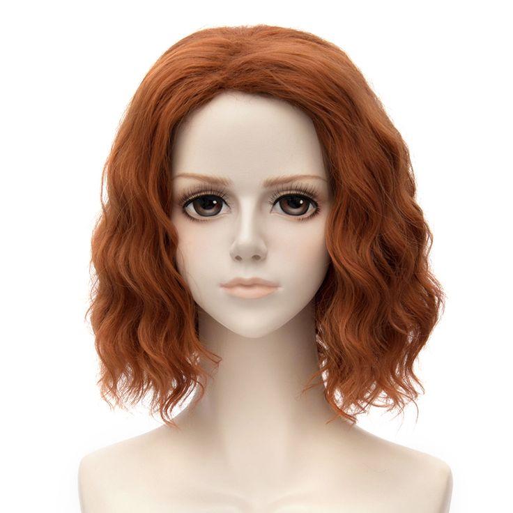 The Avengers Black Widow Natasha Costume Cosplay Wig Short Wavy Fluffy Hair
