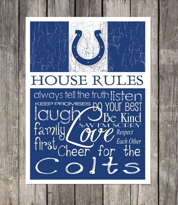 INDIANAPOLIS COLTS House Rules Art Print by fanzoneimprintz, $13.00