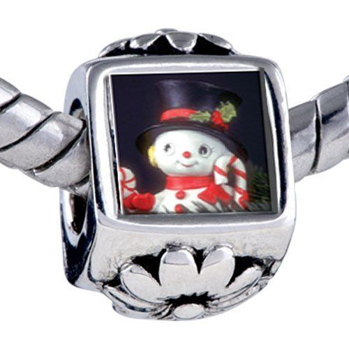 Pugster Gifts Bead Christmas Gifts Snowman Figurine Photo Beads Fits Pandora Bracelet Pugster. $12.49. Unthreaded European story bracelet design. Fit Pandora, Biagi, and Chamilia Charm Bead Bracelets. It's the photo on the flower charm. Bracelet sold separately. Hole size is approximately 4.8 to 5mm