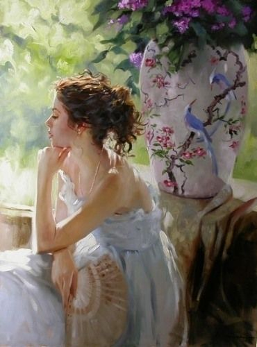 Artodyssey: Richard S. Johnson he does beautiful paintings of women and flowers.