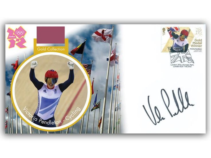 London 2012 Olympic Gold Medal Winners cover. Personally Autographed by Victoria Pendleton. Track Cycling