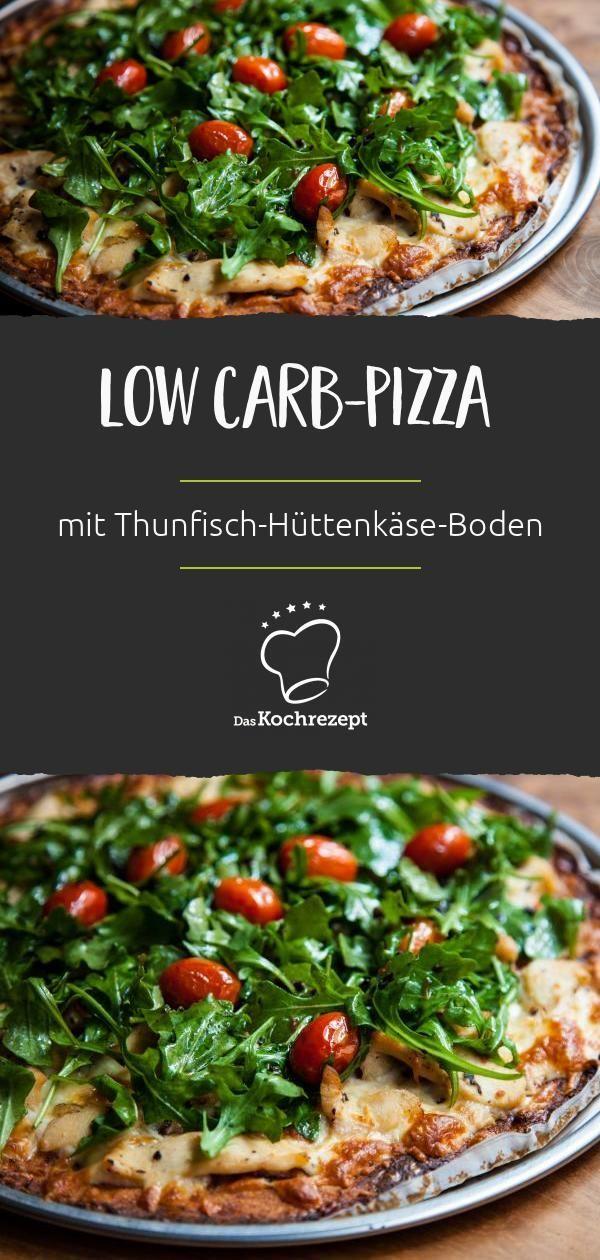 Low Carb-Pizza mit Thunfisch-Hüttenkäse-Boden