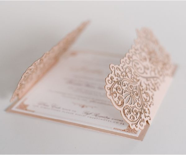Lovely Blush Wedding Invitations made by Pearl & Ivory.
