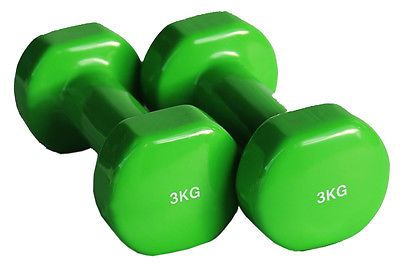 Details about  3Kg Vinyl Coated Dumbbell/ Dumbells Pair of Home Gym Arms Training Accessories