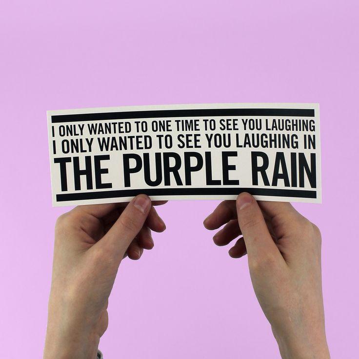"Prince ""Purple Rain"" Lyric Bumper Sticker"