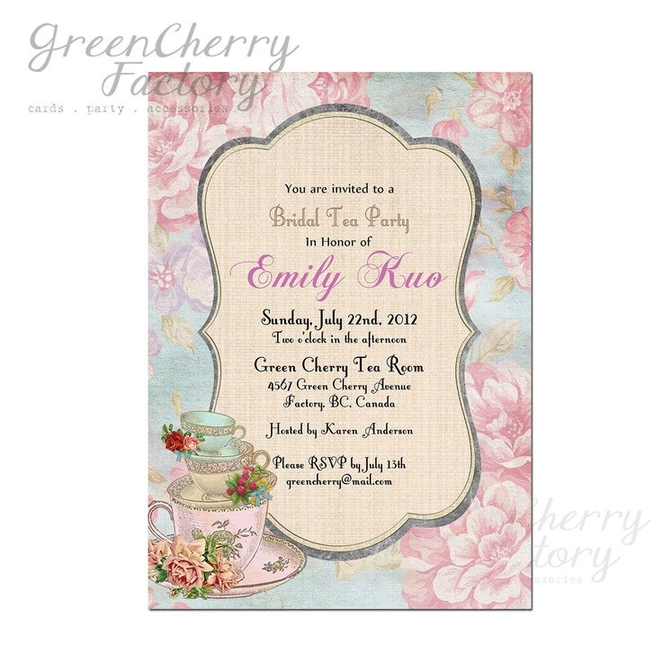 Vintage Theme Bridal Shower | Bridal Shower High Tea Invitation - can ...