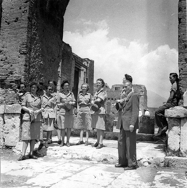 Canadian Women's Army Corps touring ruins in Italy, c. 1944.