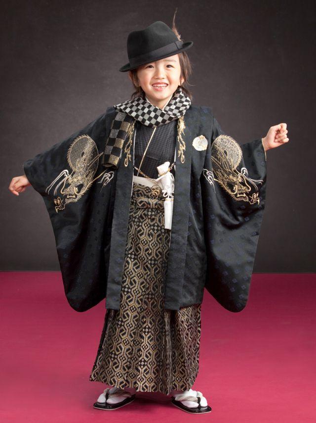 七五三着物レンタル(五歳)(ひさかたろまん)(黒紋付)
