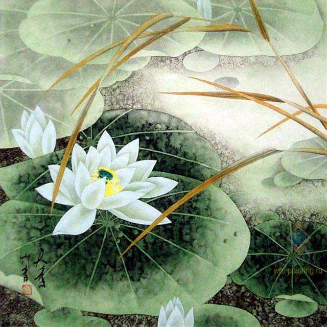Благоухающий лотос :: Лиу Жуйин (Китай ) - Китай традиционная живопись Гохуа