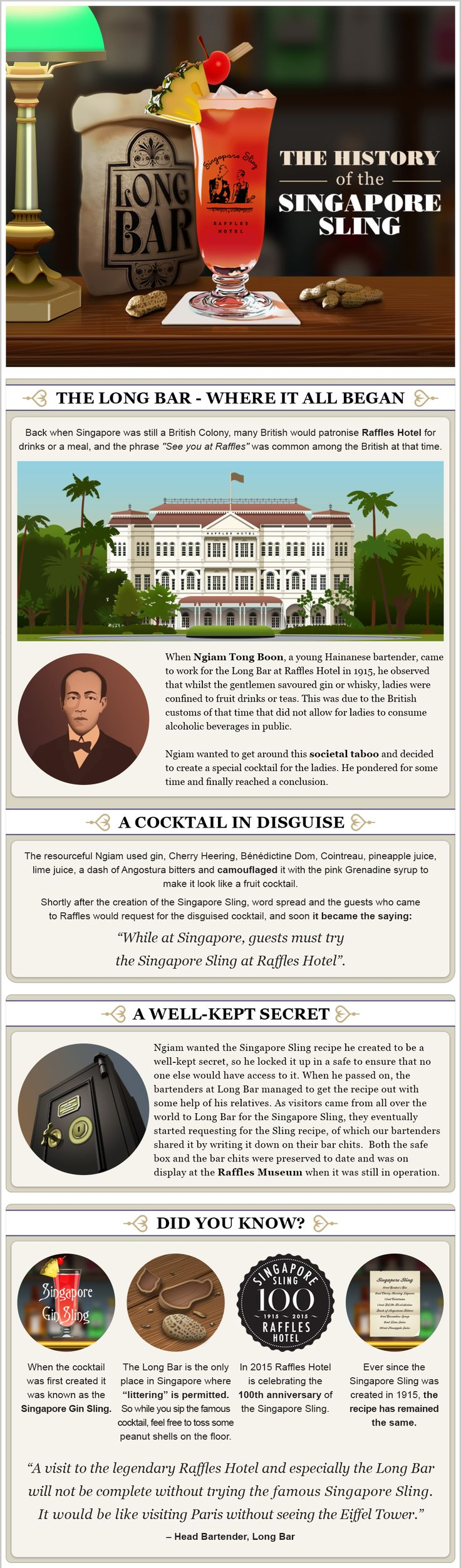 The History of the Singapore Sling #Infographic #Food #History