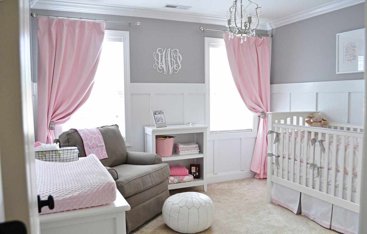Pink, grey, and white nursery
