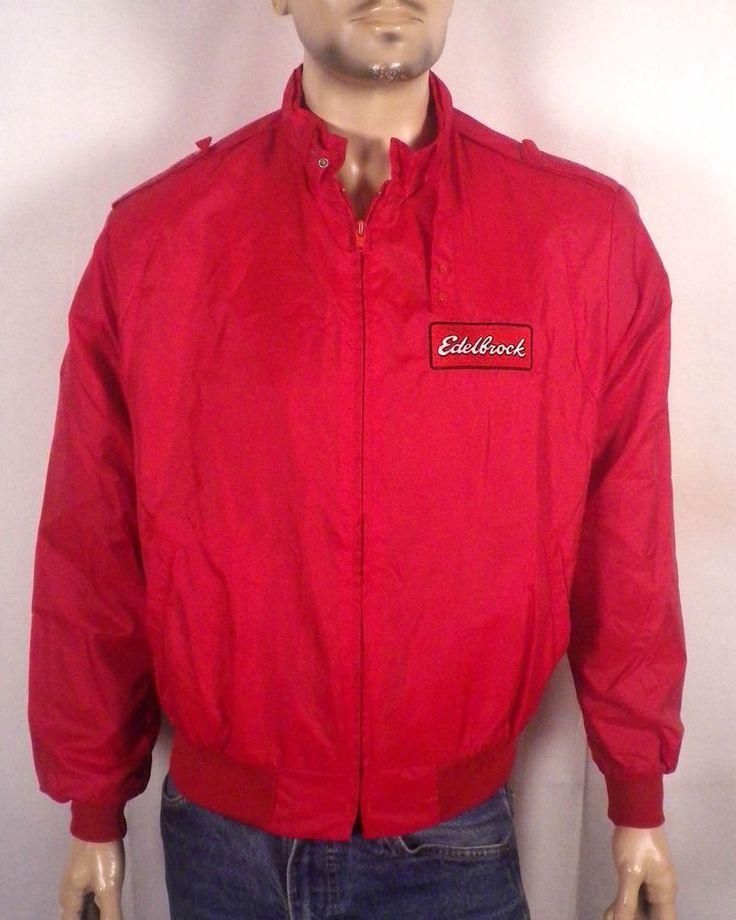 vtg 80s Swingster rare Edelbrock Racing Cafe Racer Jacket red zip up patch SZ L