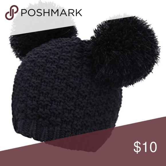 Jennifer and Company Double Pom Pom Cat Ears Beani This cute black beanie is perfect for the winter season and will make you look like a cool cat! New with tags attached. Jennifer and Company Accessories Hats