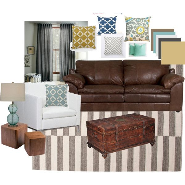 living room brown leather blues grays and yellows - Living Room Leather Sofas