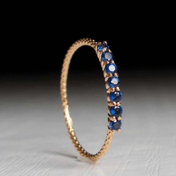 Half eternity ring Sapphire ring - Blue stone Gold ring