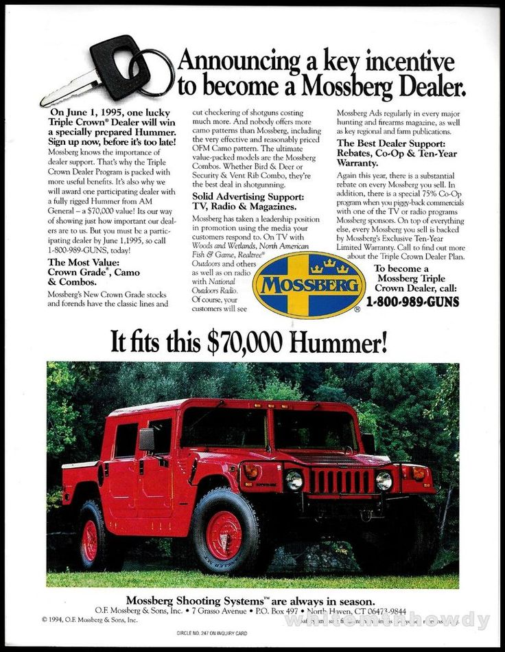 1995 MOSSBERG Rifle Dealer Promo AD Win a Hummer #Weatherby