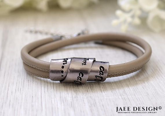 Birthday gift Leather Personalized Bracelet Custom made Women Hand Stamped Secret message Swarovski Mothers day Anniversary Friendship gift by Jaeedesign on Etsy https://www.etsy.com/listing/522365727/birthday-gift-leather-personalized