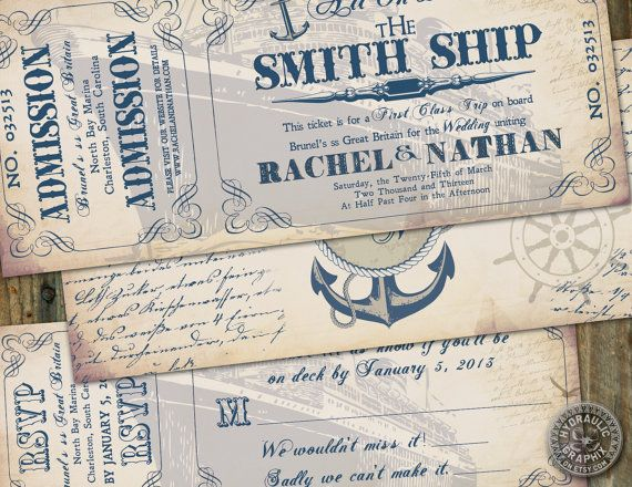 Vintage inspired Cruise Ship Ticket Invitation for wedding or birthday on a cruise with matching response card ticket on Etsy, $41.50