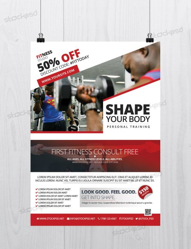 259 best PSD Flyers images on Pinterest Free psd flyer templates - Gym Brochure Templates
