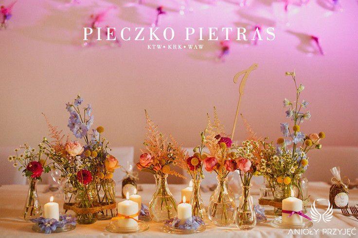1. Electrical Wedding,Rustic,Head table decor,Centerpiece,Field flowers / Elektryczne wesele,Rustykalne,stół Pary Młodej,Polne kwiaty,Anioły Przyjęć