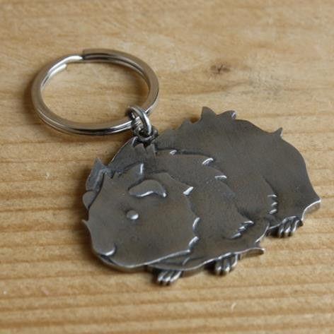 Guinea Pig Keyring - Fine Cast Pewter
