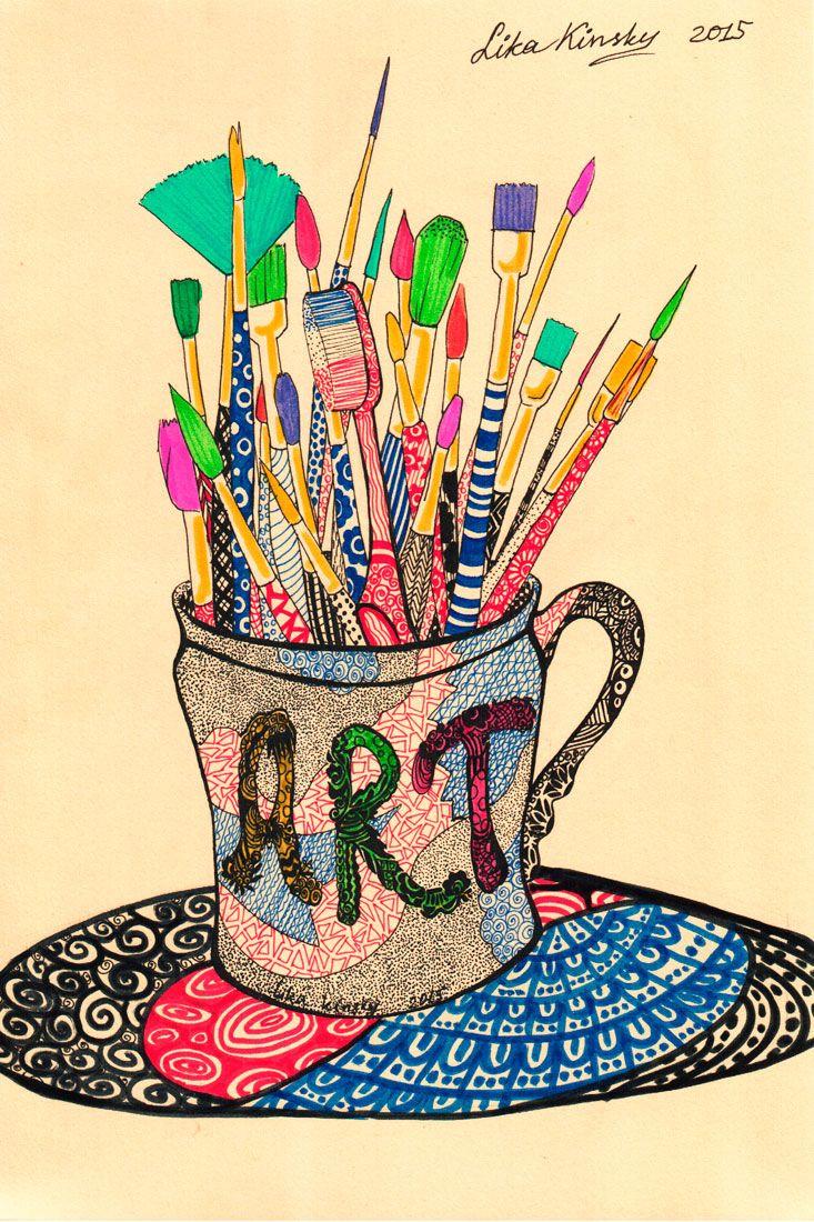 Art Is In Your Mind by LikaKinsky.deviantart.com on @DeviantArt #brush #cup #traditionalart #art #brushes #conceptart #inscription #patterns #toothbrush #zentangle #likakinsky
