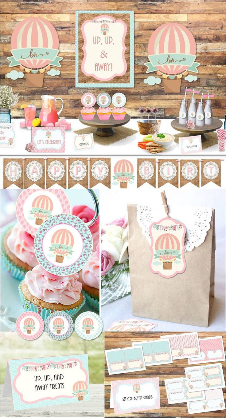 Up, Up, and Away, Hot Air Balloon, Shabby Chic, download party package, instant download, birthday party, cupcake toppers, banner, love by AtoZparties on Etsy