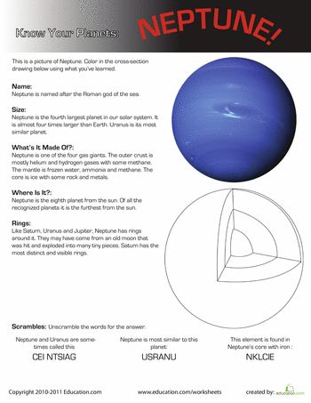 Worksheets: Facts About Neptune