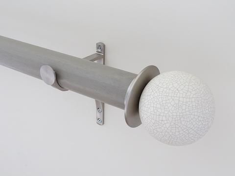 50mm dia. mouse stained wood curtain pole with ceramic crackle finials, steel brackets