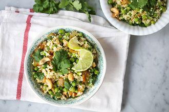 groene erwten salade met gierst (of quinoa), cashews en tamari