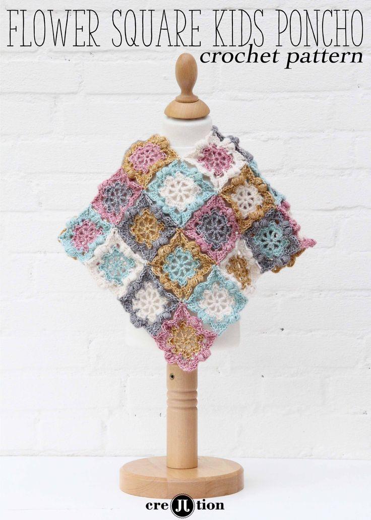 flower square kids poncho, free pattern by Crejjtion.