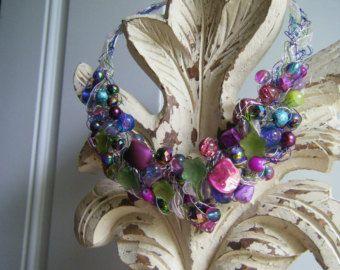 Articoli simili a collana della pietra preziosa uncinetto filo gioielli, monili, gioielli di fluorite, uncinetto filo collana, collana e bracciale set, collana bavaglino, su Etsy