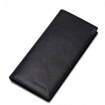 Najwyższej jakości długi męski portfel skórzany Czarny