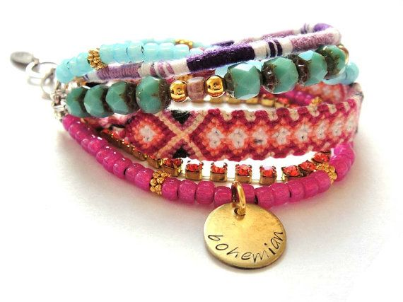 Bohemian hippie bracelet with friendship bracelets by OOAKjewelz, $100.00
