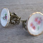 Pink Floral - High Tea Ceramic Vintage Gold Filigree Ring - by FeminineFusion on madeit