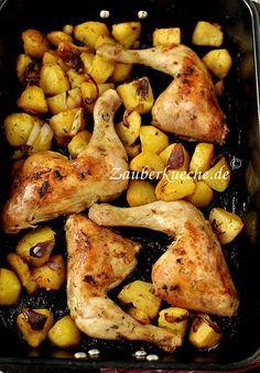 Hähnchenschenkel mit Kartoffeln aus dem Backofen