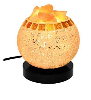 Amazon : Himalayan Salt Lamp Natural Salt Crystal Chunks in Glass Bowl with Wooden Base : Home Improvement