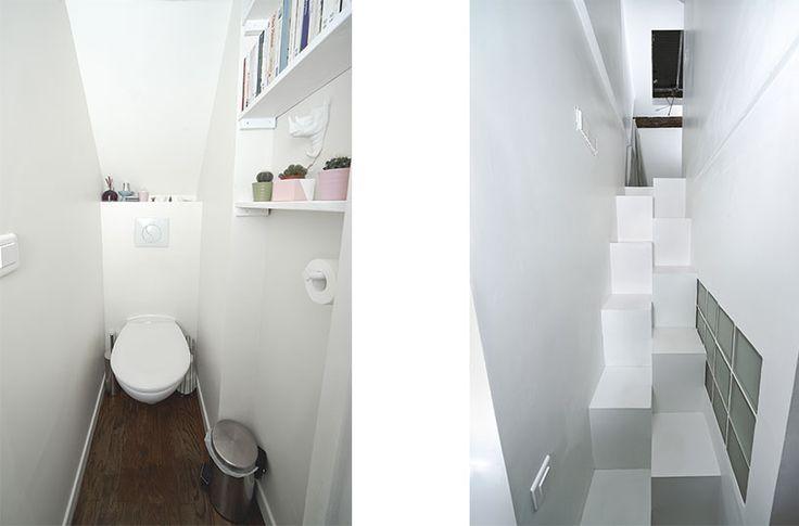 les toilettes sont placés sous l'escalier - un escalier japonais caché derrière la cuisine permet d'accéder à l'étage //crédit photo : Dorian Huet