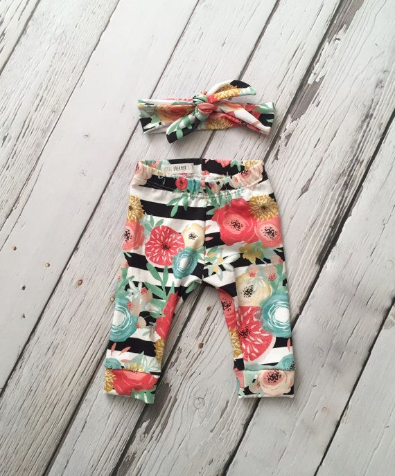 "Baby Leggings and Knot Headband Set in ""Tropical Paradise"" Print -Baby Girl Clothing - Baby Pants - Baby Fashion- Baby Going Home Outfit"