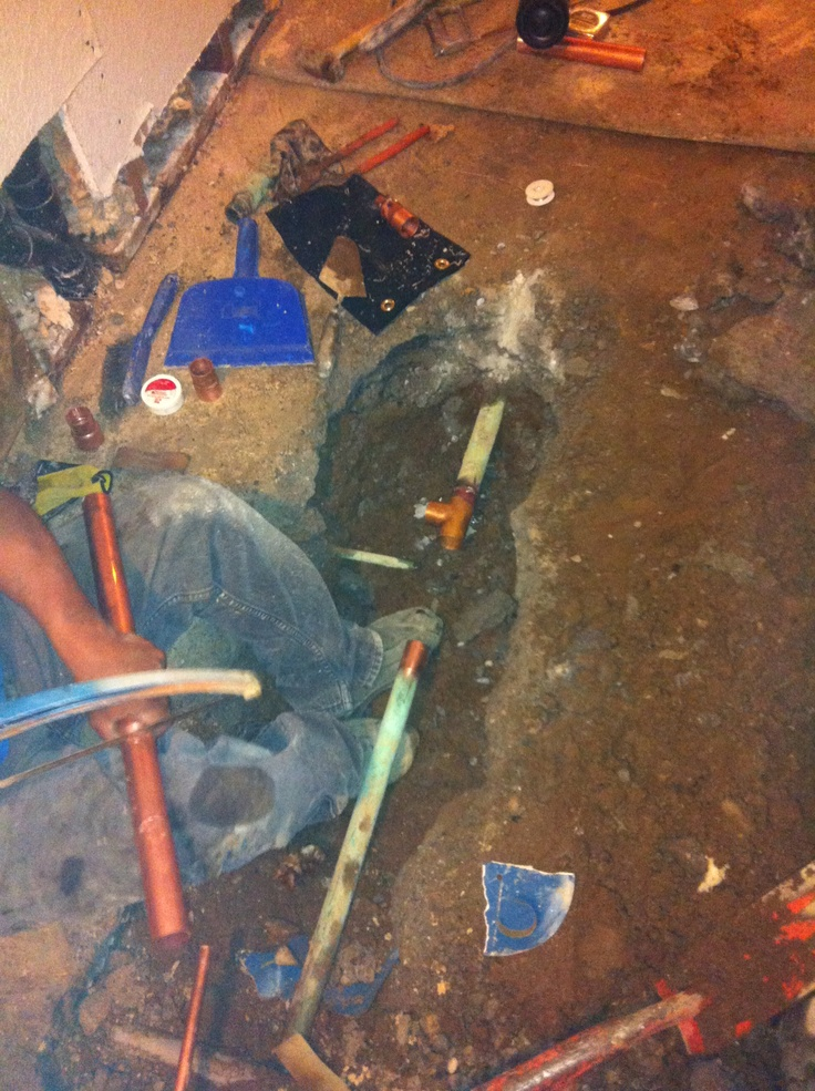 Commercial #plumbing repairs under concrete flooring.