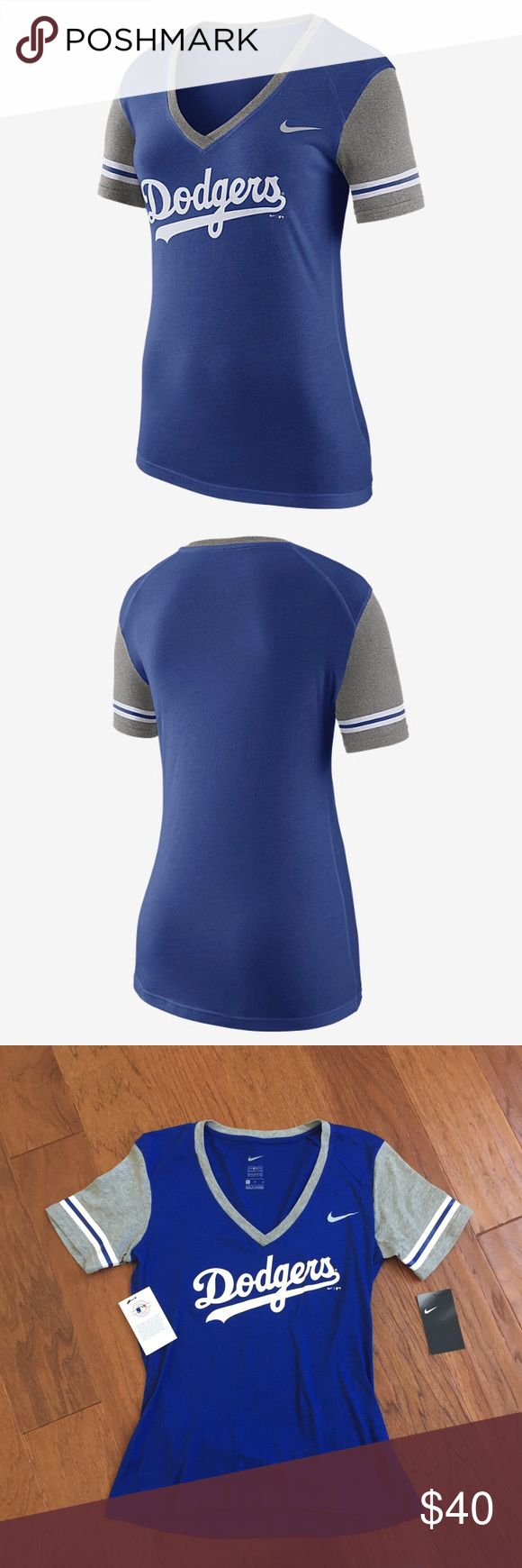 Nike Dodgers Top Brand new with tags. Nike women's shirt sleeve top, royal blue with grey and white detail. No trades, no holds, please use the offer button for offers, and feel free to ask questions 😊 Nike Tops Tees - Short Sleeve