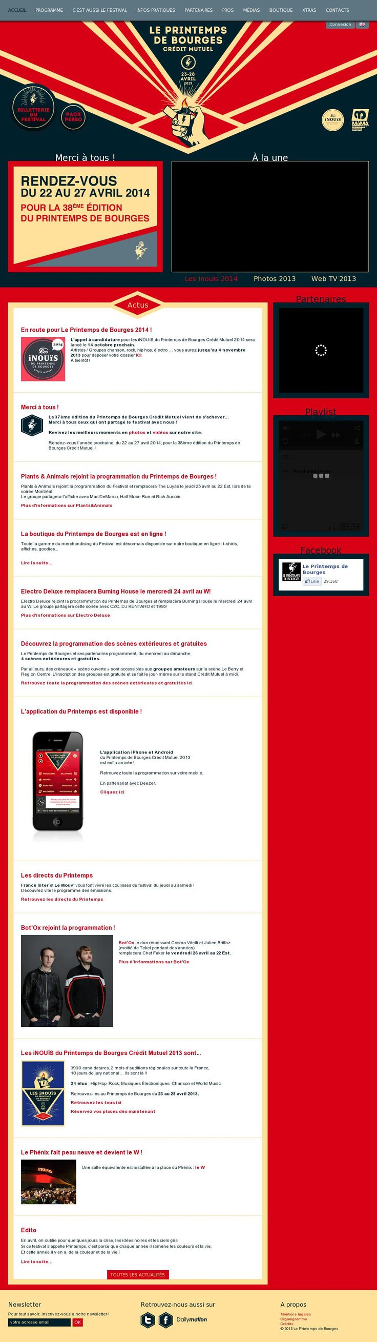 The website 'http://www.printemps-bourges.com/fr/accueil/bienvenue.php' courtesy of @Pinstamatic (http://pinstamatic.com)